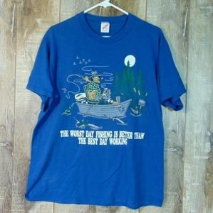 Vintage Single Stitch 'Worst Day Fishing Is Better